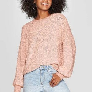 Knox Rose Textured Vintage Rose Crew Sweater XL